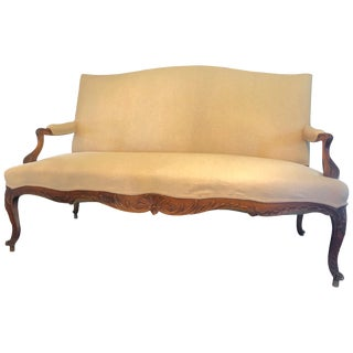 Lovely Carved Wood and Newly Upholstered Loveseat Sofa For Sale