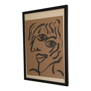 Peter Keil Cubist Abstract Face Painting 1969 For Sale