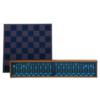 """Austin Cox Modernist """"Aloca"""" Chess Set With Chessboard For Sale"""