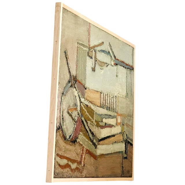A light abstract of books, on wood by Daniel Clesse, painted in France, signed and dated in 1984. Daniel Clesse was a...