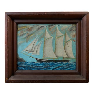 Portrait of a Schooner with American Flag