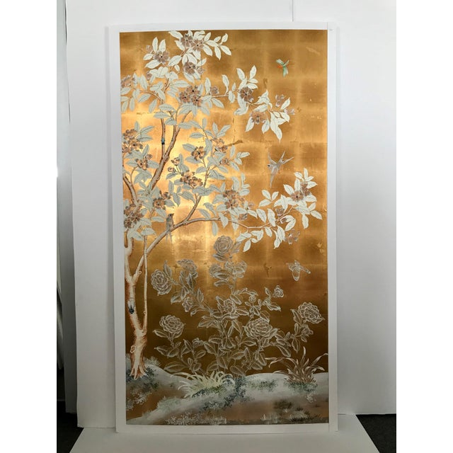 Gold Chinoiserie Old Handpainted Wallpaper Panel, Mounted on Foam Core For Sale - Image 8 of 8