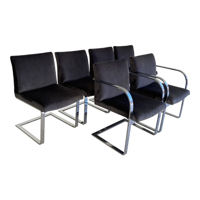 Mid-Century Modern Charcoal Velvet and Chrome Cantilever Chairs - Set of 6 For Sale