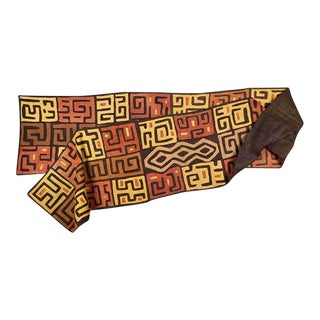 """Vintage 16+ Foot Handwoven Kuba Cloth Panel-African Art-From Kathryn Hepburn Estate-196"""" X 26""""-Wall Hanging/Rug/Fashion For Sale"""