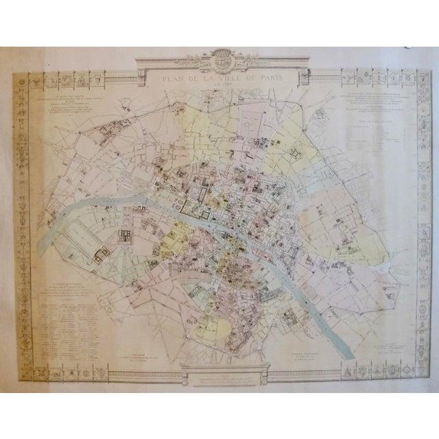Art Nouveau 1887 Original French Map of Paris, La Ville De Paris en 1789 For Sale - Image 3 of 6