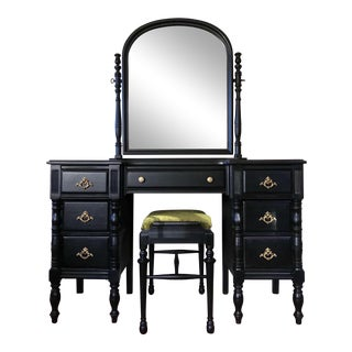 Restored Black Antique Vanity & Bench