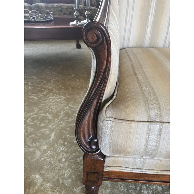 Drexel Heritage Neutral Stripe Bergere Chair For Sale In San Francisco - Image 6 of 9