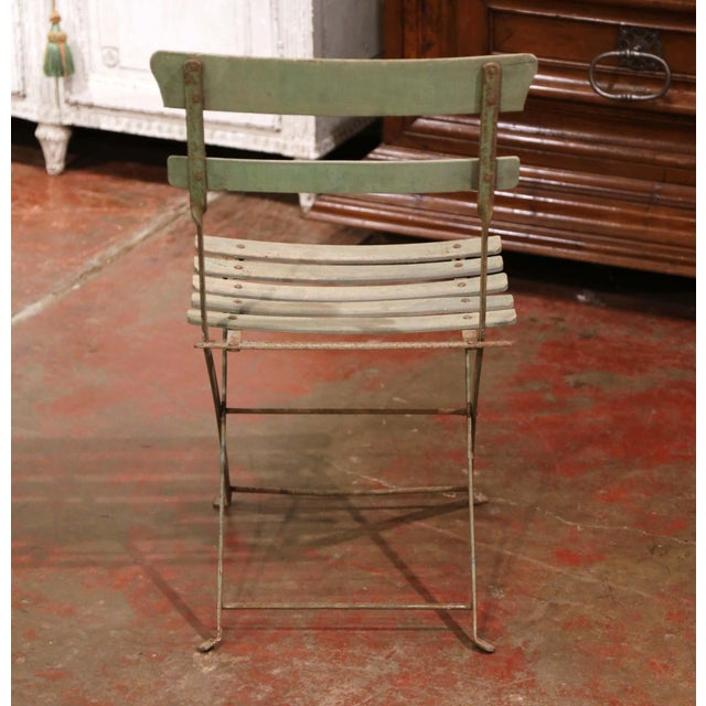 Set of Four 1920s French Iron and Wood Painted Folding Garden Chairs For Sale - Image 11 of 13