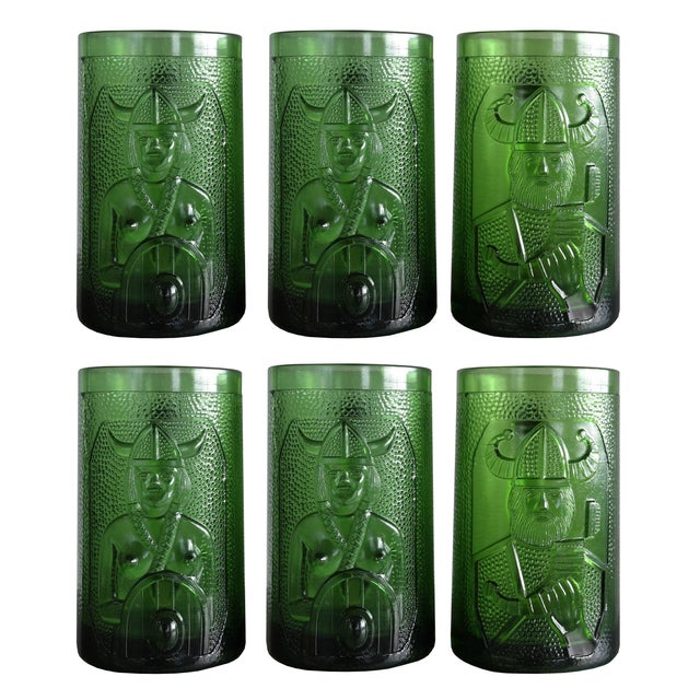 Set of 6 Viking Glass Beer Mugs by John Käll for Elme Glasbruk Sweden - Image 1 of 8