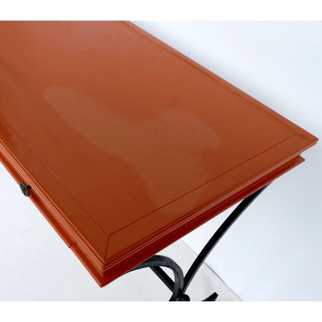 Italian Orange Lacquer Wrought Iron Desk & Chair - 2 Pieces For Sale In Miami - Image 6 of 13