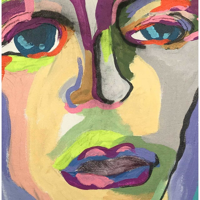 """Abstract Contemporary Abstract Portrait Painting """"My Mother's Daughter"""" - Framed For Sale - Image 3 of 9"""