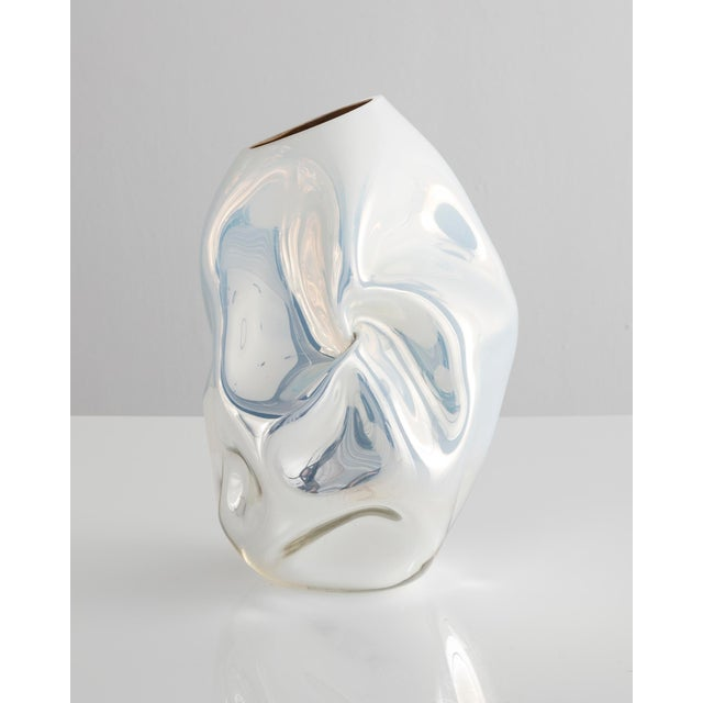 Contemporary Unique petite crumpled sculptural vessel For Sale - Image 3 of 5