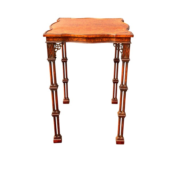 19th Century George III Style Burl Walnut and Mahogany China Table Attributed to Gillow For Sale - Image 5 of 11