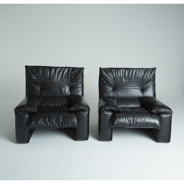 Black Leather Italian Club Chairs - Pair - Image 3 of 11