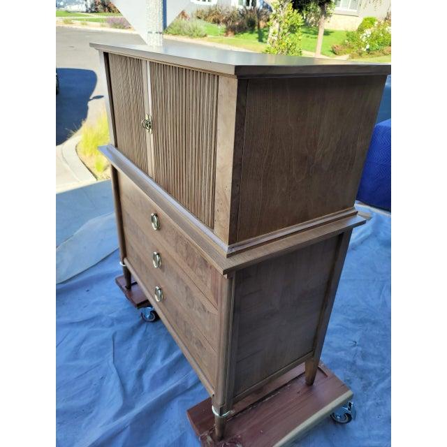 Mid-Century Burled Wood Highboy Dresser For Sale - Image 10 of 13