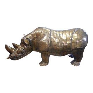 Mid 20th C. Huge Sergio Bustamante Signed/Numbered Limited Edition Brass Rhinoceros