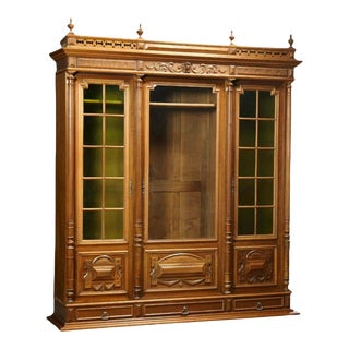 1800s Antique French Henri II Style Carved Walnut Bookcase For Sale