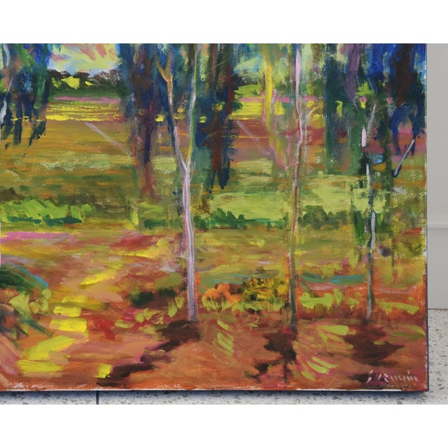 Abstract Juan Guzman Plein Air Santa Barbara Eucalyptus Grove Painting For Sale - Image 3 of 10