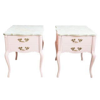 French Provincial Nightstands & Marble Tops - Pair