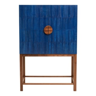 Ostrich Skin Ripple Blue Walnut Bar Cabinet
