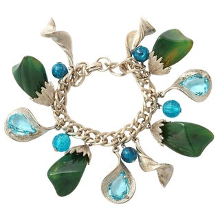 Silvertone Green and Turquoise Charm Bracelet For Sale