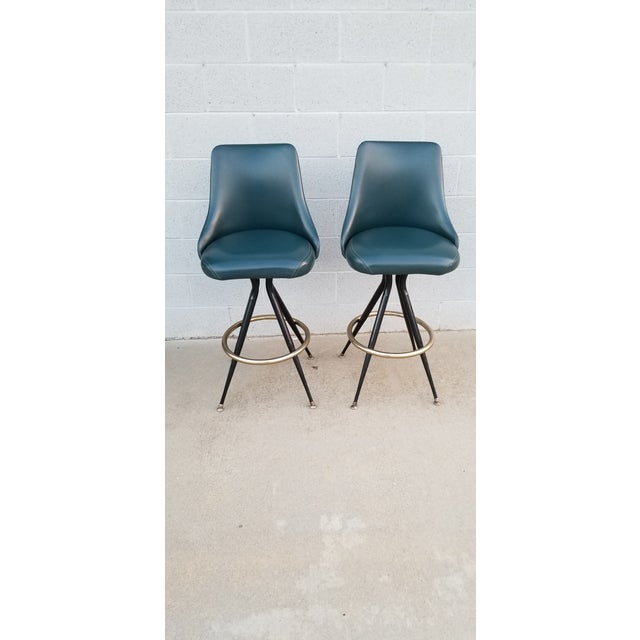 Orange Mid-Century Brass & Leatherette Swivel Bar Stools - a Pair For Sale - Image 8 of 10