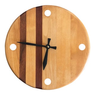 Vintage Mid Century Modern Danish Style Wood Wall Clock For Sale