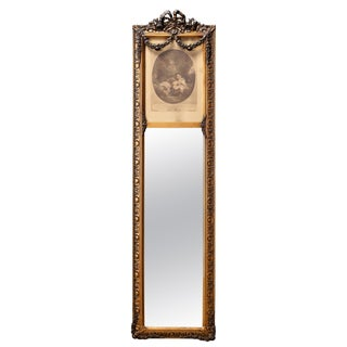 Mid 19th Century Antique French Gilt Trumeau Hall Mirror For Sale