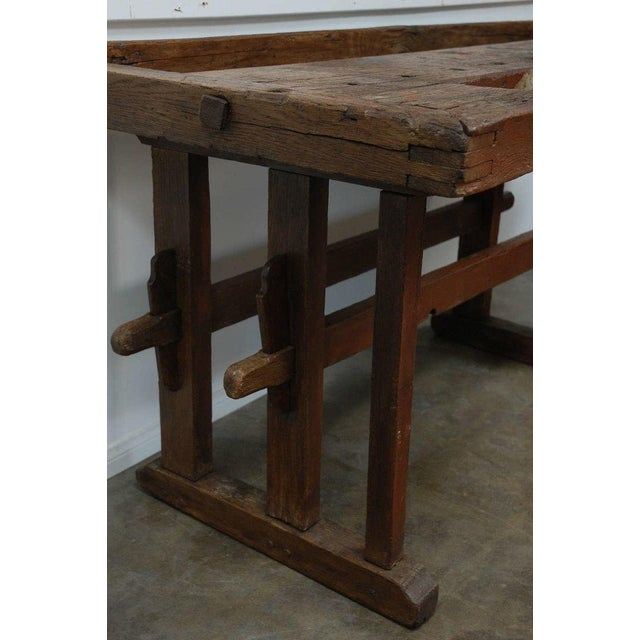 Brown Antique Hungarian Craftsman's Workbench For Sale - Image 8 of 8