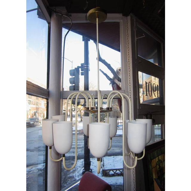 1950s Mid-Century Modern Matte White 9-Arm Curvilinear Chandelier For Sale - Image 12 of 12