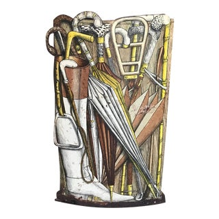 1950s Italian Piero Fornasetti Metal Umbrella Stand For Sale