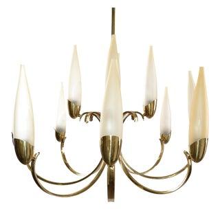 Stilnovo Mid-Century Modern 12 Light Brass Chandelier & Blown Glass Shades Italy For Sale