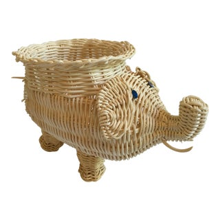 Vintage Boho Chic Wicker Elephant Planter/Catchall For Sale