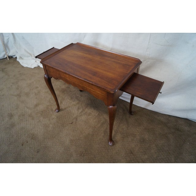 Statton Solid Cherry Queen Anne Style Tea Table - Image 4 of 10