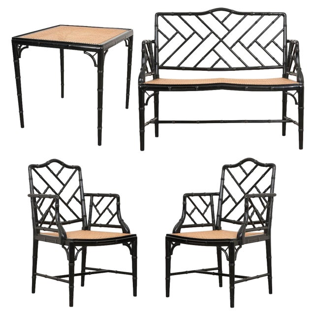 English Vintage Chinese Chippendale Four-Piece Conservatory Suite For Sale