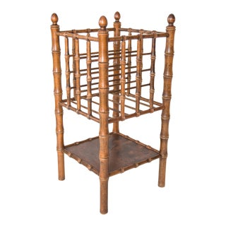 Tall Vintage Mid-Century Faux Bamboo Tiered Magazine Rack For Sale