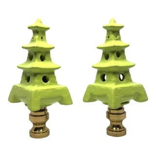 Chinoiserie Lime Green Porcelain Pagoda Lamp Finials - a Pair For Sale