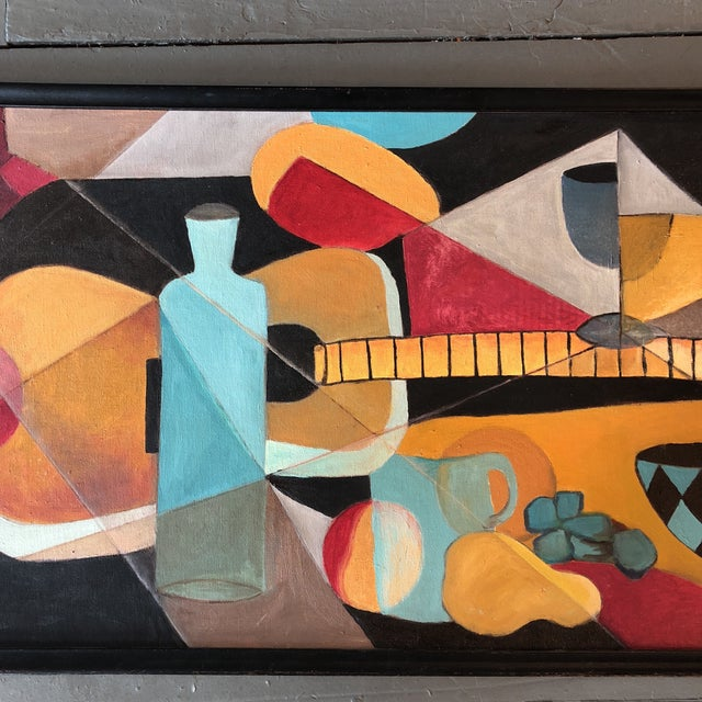 Original painting on canvas board 18 x 36 Unsigned in original thin black wood frame