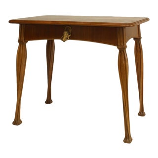 French Art Nouveau Walnut Single Drawer Table Desk with Brass Duck Head Handle For Sale