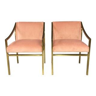 Vintage Plush Velvet & Brass Armchairs - A Pair