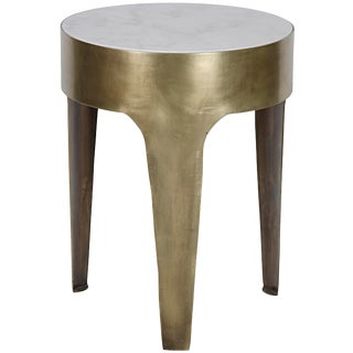 Cylinder Side Table, Small, Metal and Quartz For Sale