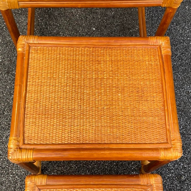 Leather Wrapped Rattan Nesting Tables - Set of 3 For Sale - Image 4 of 13