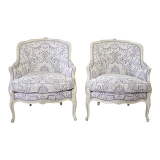 Vintage 20th Century Painted French Louis XV Style Bergere Chairs- A Pair For Sale