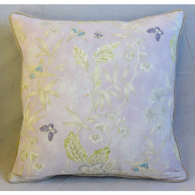 """Early 21st Century Pale Lavender Wildflower & Butterfly Linen Feather/Down Pillows 23"""" Square - Pair For Sale - Image 5 of 13"""