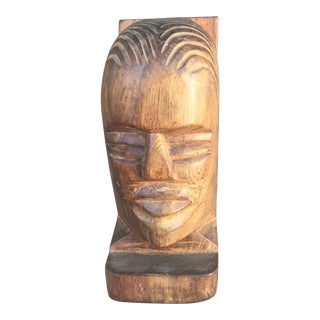 Vintage Hand Carved Rustic Wooden Bust For Sale