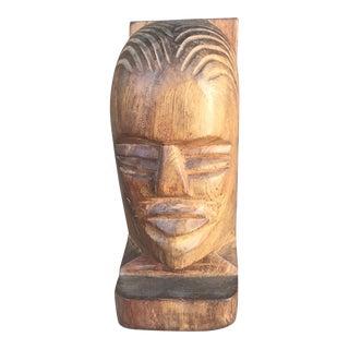 Vintage Hand Carved Rustic Wooden Bust For Sale