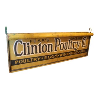 Early 20th C. Antique Double Sided Light Up Clinton Poultry Co. Sign For Sale