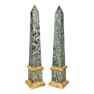 Pair of Italian Grand Tour Marble Obelisks For Sale