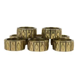 1970s Vintage Diamond Patterned Brass Napkin Rings - Set of 8