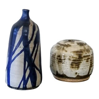 Blue & Earthtone Hand-Crafted Ceramic Vases - A Pair For Sale